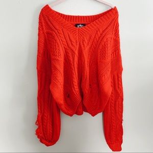 Red V-neck Knit Sweater